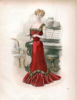 3 Victorian Edwardian Ladies Dress Design Fashion Colour Pictures Reprint Prints