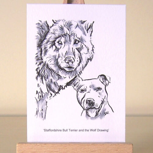 Staffordshire Bull Terrier drawing Wolf and Staffie ACEO Art Card