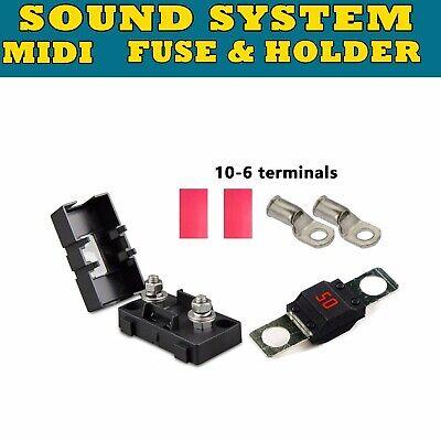 2Pcs 50A AMP MIDI BOLT CAR FUSE FOR DUAL BATTERY AND MEGA SOUND SYSTEMS