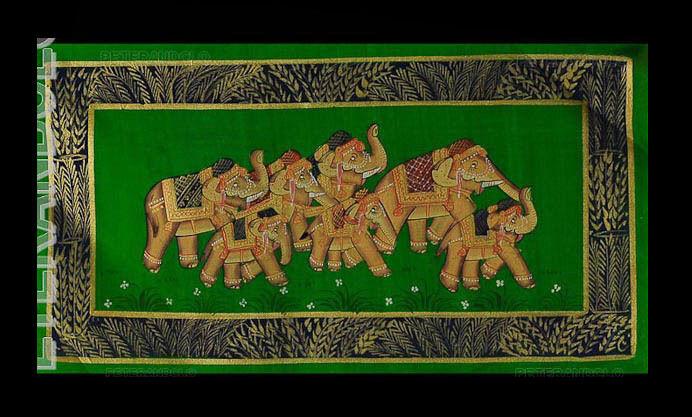 Tenture Murale Peinture Moghole sur Soie Art  Elephant Inde 39x20cm C8 1206