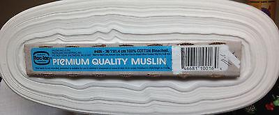 "Roc-Ion White Bleached Premium MUSLIN 100% cotton 36"" wide/Yard"