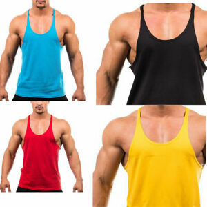 Men-039-s-Bodybuilding-Tank-Top-Muscle-T-Shirt-Gym-Fitness-Stringer-Sports-Singlets