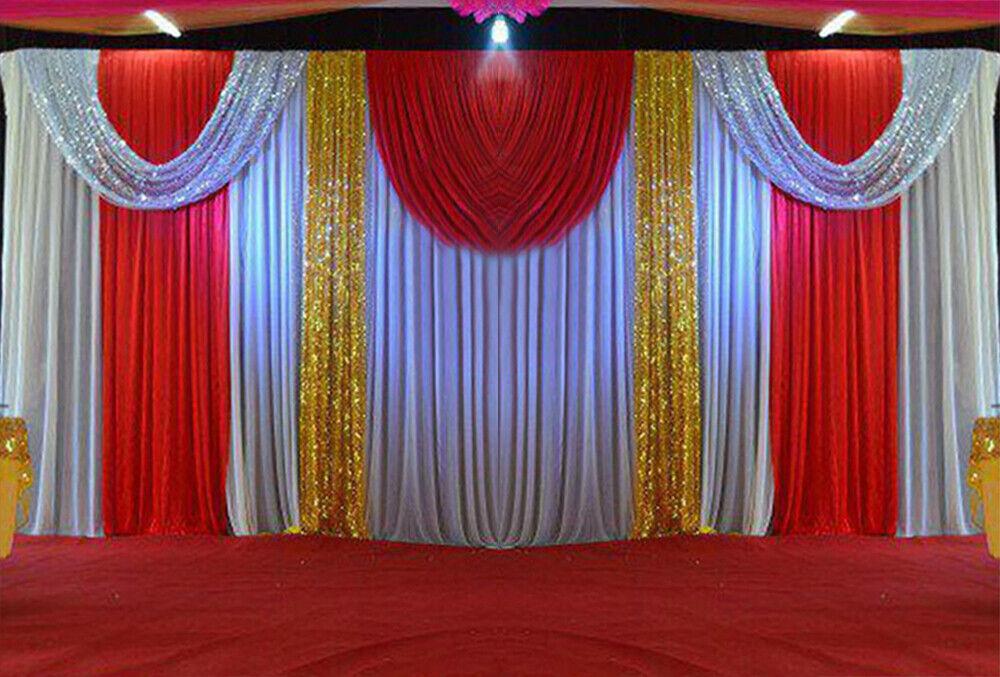 20X10FT Ivoire Blanc Toile De Fond Rideaux Pour Fête De Mariage Scène Rideau en tissu SWAG