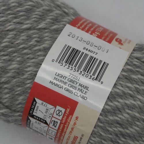 Patons 244077-77251 Classic Wool Worsted Yarn Light Gray Marl