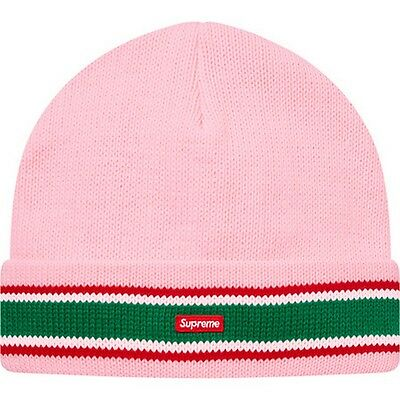 32c15e03d SUPREME Striped Cuff Beanie Black Navy Royal Pink box logo camp cap F/W 16  | eBay