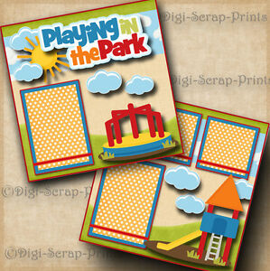 PLAYING-IN-THE-PARK-2-premade-SCRAPBOOK-pages-paper-piecing-boy-girl-DIGISCRAP