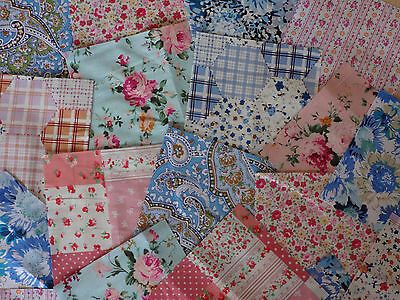 "25 x 4"" 100% Cotton Fabric Remnant Bundle patchwork squares~ Quilting"