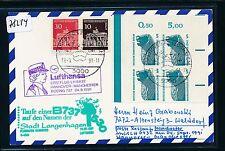 78214) LH FF Hannover - Manchester 24.9.91, Karte + Taufe LANGENHAGEN VBL SWK