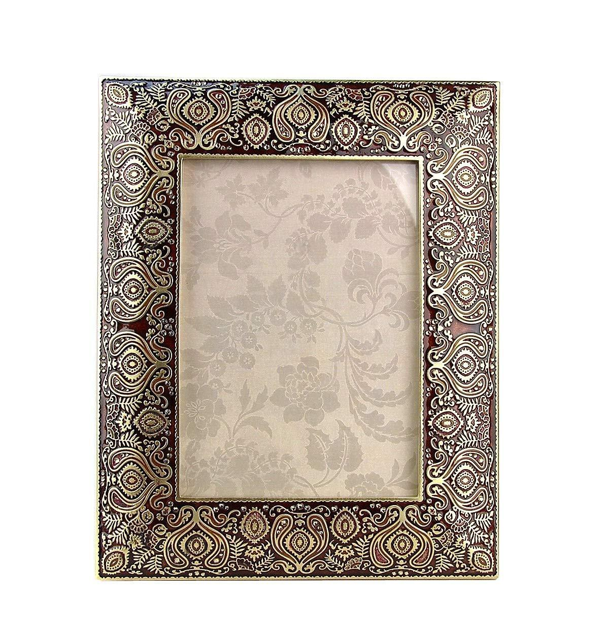 5 x 7 PHOTO Brocade Gold Burgundy Frame - Jay Strongwater 1 2