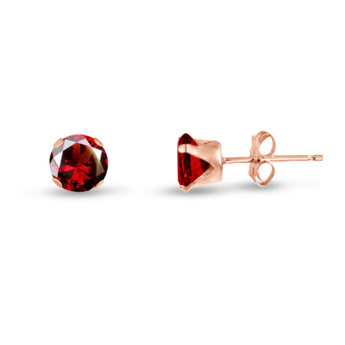 Rose Gold Plated Sterling Silver Stud Earrings Round Red Garnet CZ ~ January
