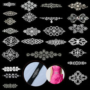 Crystal-Rhinestone-Diamante-Motif-Sew-On-Applique-Patch-Embellishment-Dress