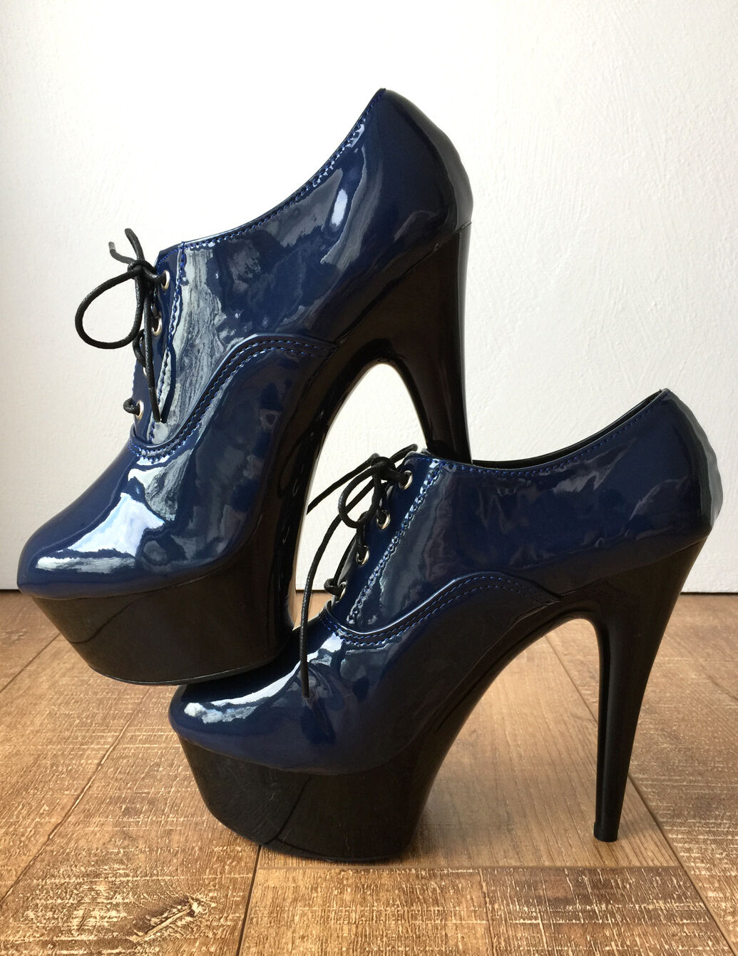 15cm Platform Ankle Indigo Blue Oxford Bootie Extreme Hi Heel Goth Drag Queen