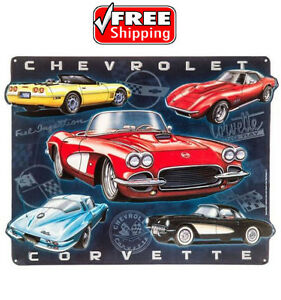 """Collectible EMBOSSED Die Cut Metal Sign CHEVY """"CHEVROLET CORVETTE"""" 16+""""x13"""" NEW"""