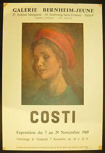Affiche Exposition Raffaele Costi (1909-1972) Galerie Bernheim-jeune 7 Nov 1969 Valeur Formidable