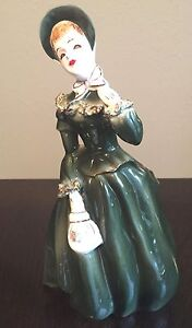 Vintage Napcoware Lady Wearing Dark Green Gown & Hat Ceramic Planter Vase A1744C