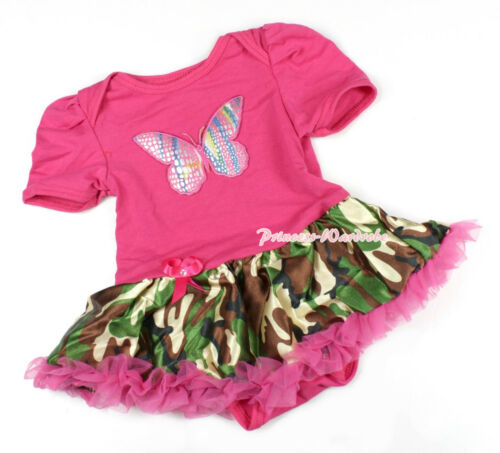 Hot Pink Rainbow Butterfly Jumpsuit Romper Camouflage Baby Dress Bodysuit NB-12M