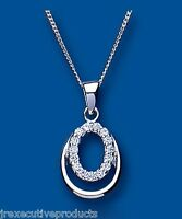Cubic Zirconia Pendant Silver Necklace Solid Sterling Silver Pendant and Chain