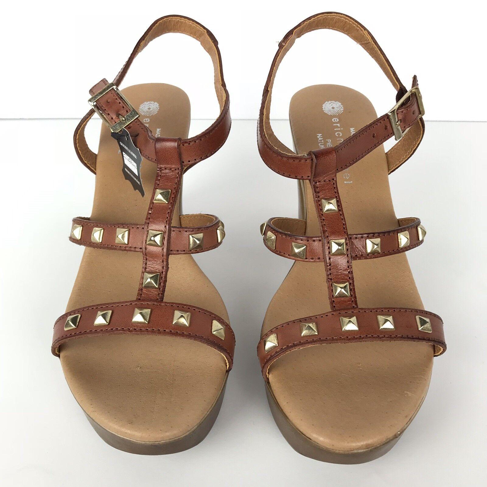Eric Michael Damens's Open Toe Slingback Sandales Sandales Sandales US Größe 9.5 EUR 40 Braun Leder ed66c5