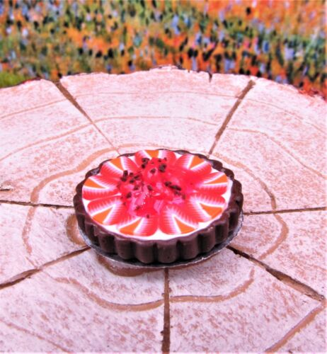 Miniature Dollhouse Fairy Garden Chocolate Strawberry Tart Buy 3 Save $5