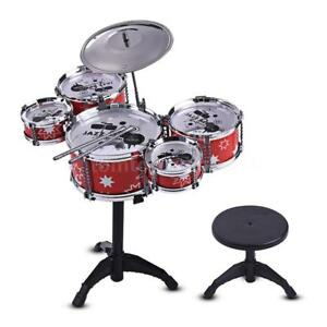 Children-Kids-Jazz-Drum-Set-Kit-Toy-5-Drums-1-Cymbal-w-Small-Stool-Drum-Sticks