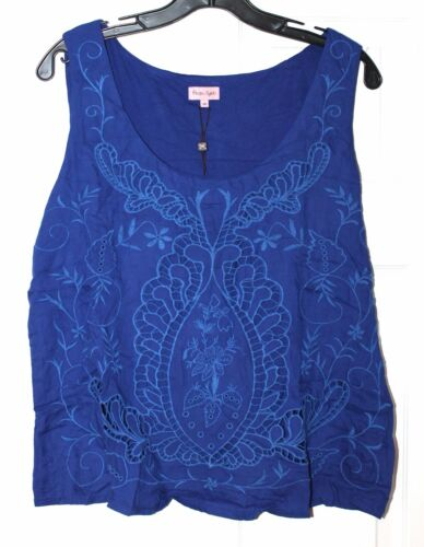 Blue Rrp Vest 14 00 Embroidered new Top Broderie Eight Womens Uk £55 Phase 0RxwIvqx