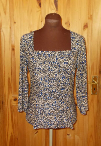 4 Leopard 12 3 14 Square Print Blue Cobalt Tunic Black M Neck Beige Sleeve Top xUwaBB