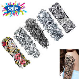 5x Large Temporary Tattoo Removable Arm Leg Art Tattoos Sticker ...