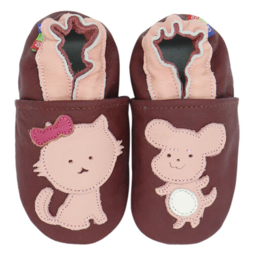 carozoo mouse cat purple 6-7y soft sole leather kids shoes slippers