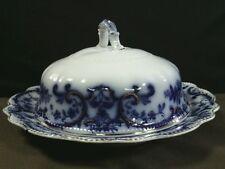 Antique  W.H.Grindley & Co. Portman Flow Blue Covered Butter Plate,England