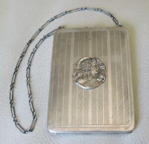 Antique Art Nouveau Woman Silver T Compact Coin Holder Card Bill Case Purse EAM
