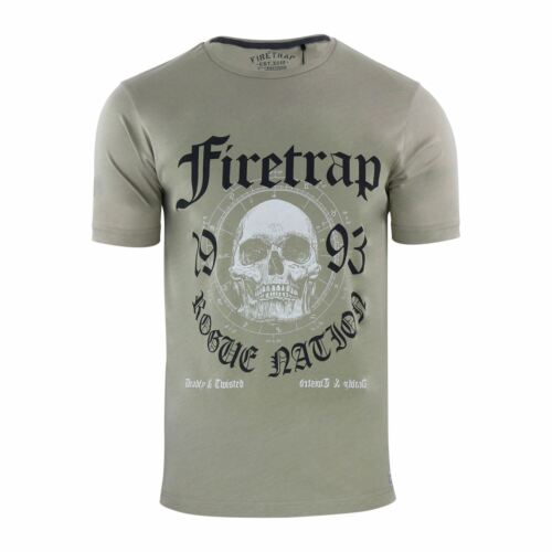 Mens T Shirt Firetrap Various Graphic Printed Cotton Crew Neck Casual Tee
