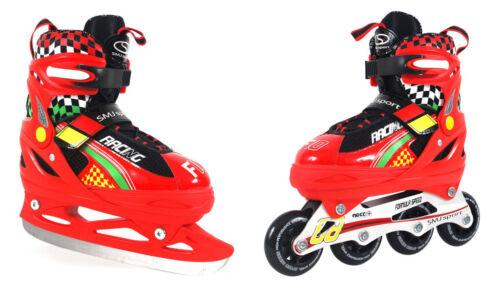 2in1 Kinder Inlineskates/Schlittschuhe SMJ Sport RACING F10 Gr 29-36 verstellbar