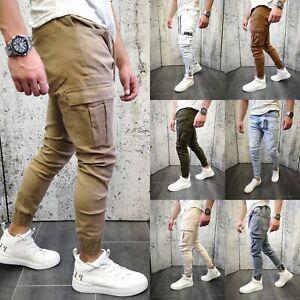 JEANS-Uomo-Jogger-pantaloni-cargo-BIKER-SLIM-FIT-CHINO-Jogging-Casual-Casual