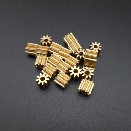 100PCS 0.5M 92A Brass Gear 0.5 Modulus T=9 Aperture 2mm 1.95MM 9T 9 Teeth 5X5MM