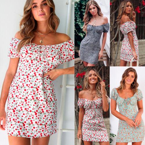 Damen Boho Blumen Strandkleid Sommer Schulterfrei Freizeit Trägerkleid Minikleid