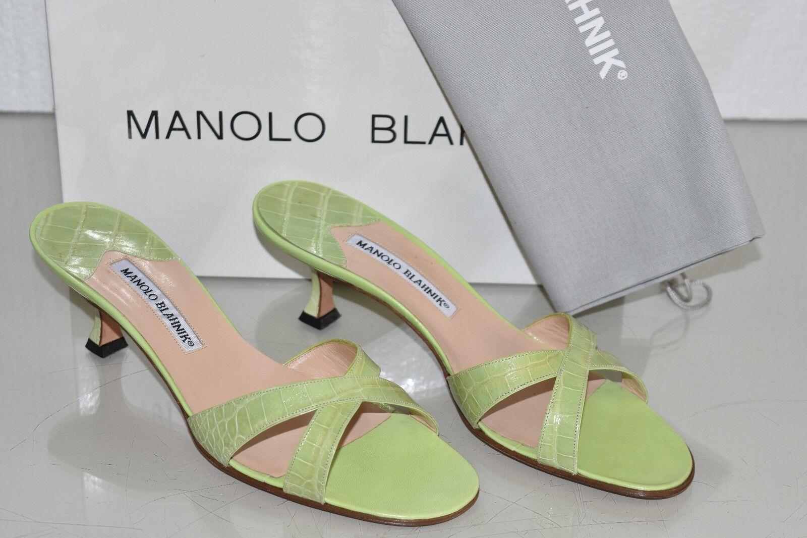 2625 2625 2625 ny Manolo Blahnik CallAMU grön ALLIGATOR CROCODILE Sandals skor 39.5  bästa kvalitet bästa pris