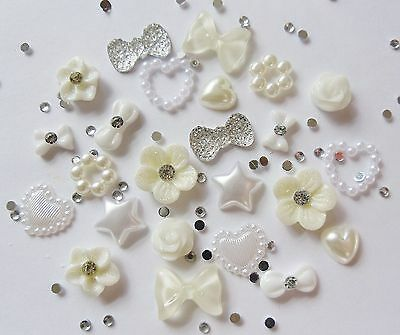 "24 x 3D Nail Art ""White Ivory & Silver"" Rhinestones Flowers,Heart Bows"