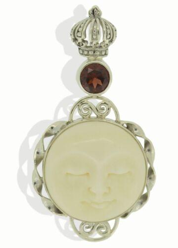 Moon Face Garnet Sterling Silver 925 Pendant