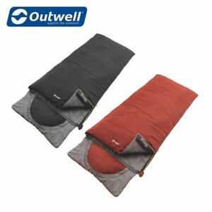 Details About Outwell Contour Single Sleeping Bag With Built In Pillow Camping Black Or Red