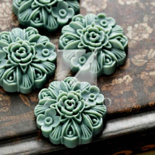 4//16pcs Resin Flatback Cabochon Cameo Flower Craft Embellishment 23x23x8mm MG