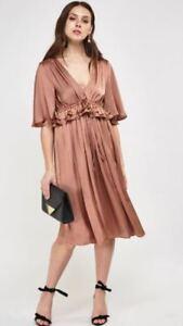 Ex M&S Bronze Satin Dress V Neck Occasion Waist Tie Size 8 - 22 RRP £59