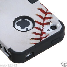 Apple iPhone 4 4S Hybrid T Armor Snap-On Case Skin Cover Baseball Black