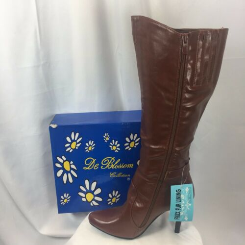 NIB BLOSSOM DUBAI-9 Womens pointy toe tall boots zip stiletto heels  w//buckle PU