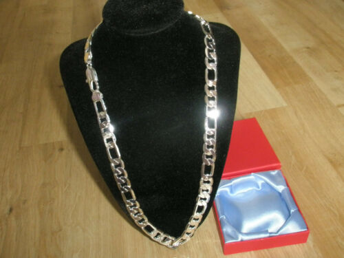 "Lifetime 10mm 24"" 18K White Gold Plated Figaro Men Chain Swagger Xmas Gift"