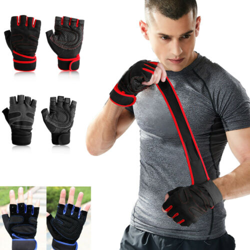 Mens Women Gym Gloves With Wrist Wrap Support Weight Lifting Workout Fitness New