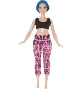 BLACK SPANDEX CAPRI PANTS with a PINK WAISTBAND for  BARBIE DOLL