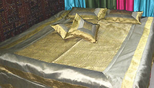 Gray-Golden-Silk-brocade-Bed-Cover-bed-Sheet-pillow-set-full-Queen-from-India