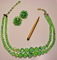Vintage Lime Green Aurora Borealis 2-Strand Necklace,Clip Earrings, & Pencil