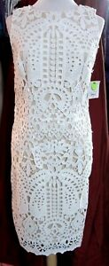 Liz-Claiborne-10-Dress-Ivory-Embroidered-LACE-over-Nude-NWT-Day-to-Night
