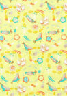 Spring Birds, Leaf Wreaths on Yellow Fabric Sold Per 1/2 Metre 100% Cotton